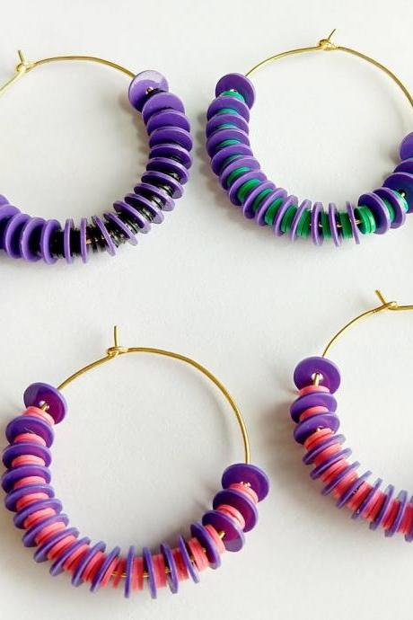 Beaded hoops beaded earrings beaded hoop earrings gold plated hoop earrings multi color hoop earrings beaded earrings aesthetic earrings