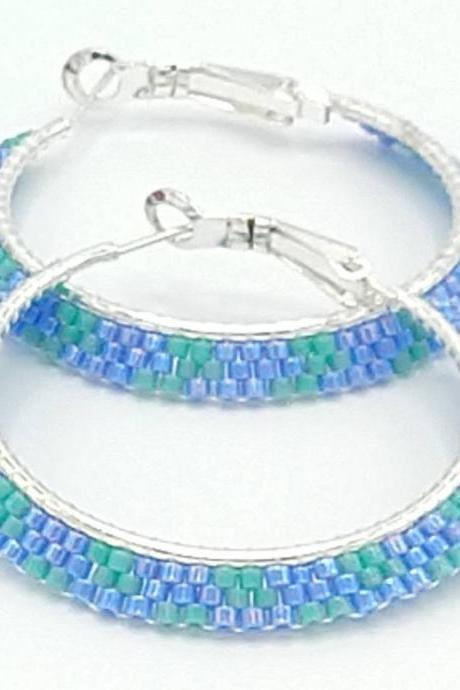 Beaded hoops beaded earrings hoop earrings blue and turquoise earrings seed bead earrings seed bead jewelry beaded jewelry boho hoops