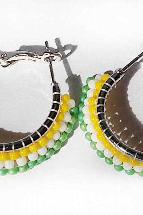 beaded hoop earring white and colorful seed bead hoop multicolor beaded hoop seed bead earrings bohemian earrings bohemian beaded hoops