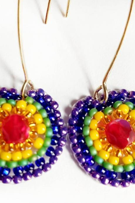 Rainbow beaded earrings beaded earrings rainbow earrings circle earrings round earrings boho chic earrings boho jewelry spring earrings