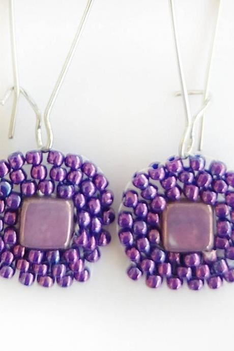 Beaded earrings purple beaded earrings square beaded earrings boho chic earrings boho chic jewelry boho earrings seed bead earrings
