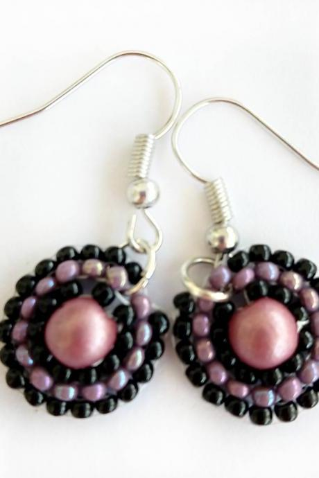 Beaded earrings pink beaded earrings purple beaded earrings black beaded earrings circular beaded earrings boho chic earrings