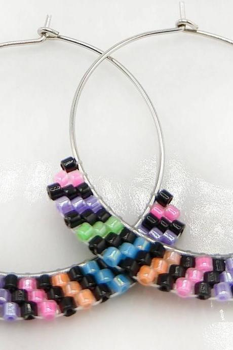 Beaded hoop earrings hoop earrings stainless steel earrings stainless steel hoops neon hoops neon striped black neon jewelry boho aesthetic